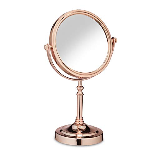Relaxdays Kosmetikspiegel, doppelseitig, Vergrößerungsfunktion, 360° drehbar, Bad & Schminktisch, HBT 32x20x12 cm, rosé
