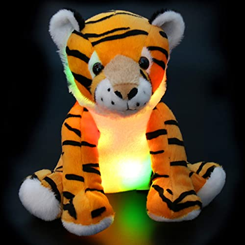 Athoinsu Light up Tiger Stuffed Animals with LED Night Light Glow in Dark Soft Plush Toy Valentine's Day Birthday for Toddlers Kids, 11''