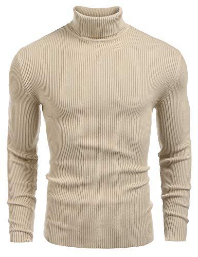Yidarton Herren Pullover Strickpullover Rollkragen Slim Fit Männer Winter Basic Rollkragenpullover Langarmshirt Pulli (Beige, Medium)