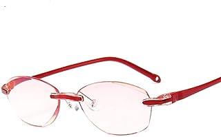 Retro Gafas De Lectura Sin Montura Ultraligeras Rojas Filtro De Luz Azul Lente Ecológica Apto para Cualquier Ocasión 200