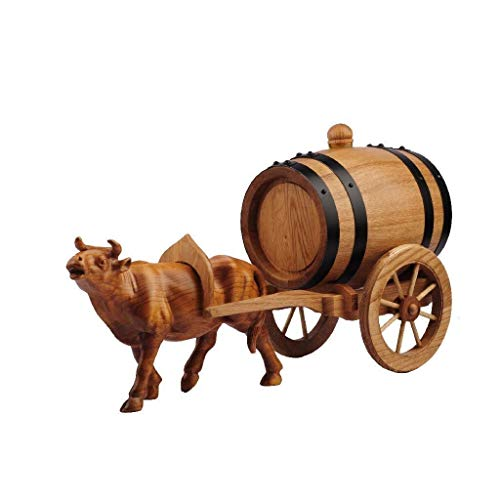 Barril Roble Barril De Vino De Madera Maciza, Barril De Vino De Roble Whisky De 0.75L Envejecido Buey Tallado A Mano Cubo De Almacenamiento De Coche Decoración Del Hogar Reubicación De Vino Regalos Cr