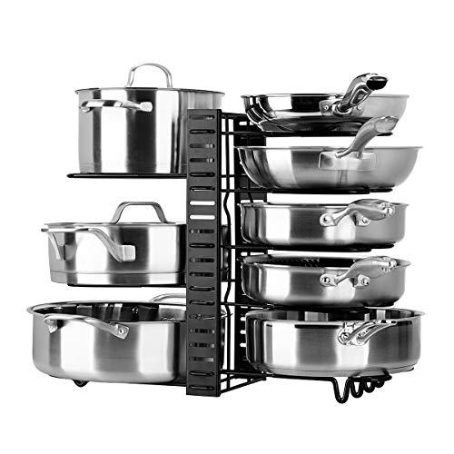 Toplife Porte-casseroles, 3 DIY Méthodes Porte-casseroles Support en Acier Inoxydable Rangement Cuisine avec 10 Compartiments Réglables Parfaite pour Les Ustensiles Poêles, Casseroles, Couvercles