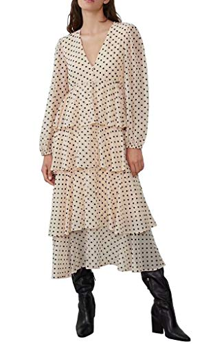 R.Vivimos Women's Long Sleeve V Neck Chiffon Polka Dot Layered Midi Dress (Small, Beige)