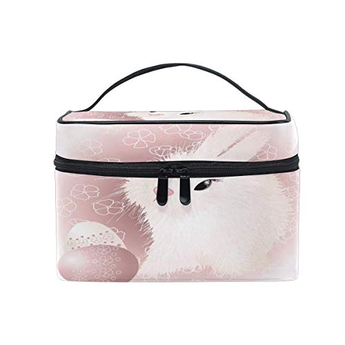 Makeup Bag, Easter Bunny Rabbit Pattern Portable Travel Case Large Print Cosmetic Bag Organizer Compartments for Girls Women Lady