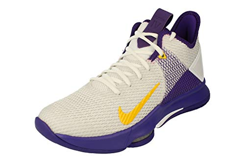 Nike Men's Basketball Shoe, Bianco White MTLC Gold Voltage Purple Pure Platinum Opti Yellow Volt 100, 8 US