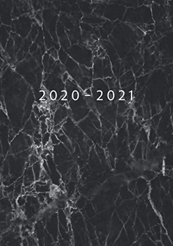2020 - 2021: 1 Woche auf 2 Seiten | Wochenplaner ab KW40 | Oktober 2020 bis September 2021 Kalender | Größe A5 | 52 Wochen Terminkalender Planer | Soft-Cover Marmor Schwarz