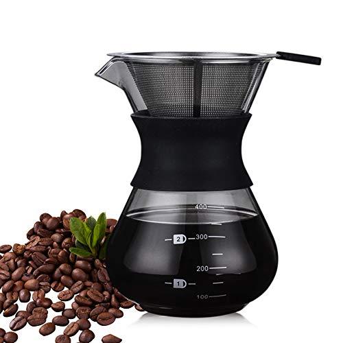 ISKM Manuell Pour Over Kaffeebereiter Kaffeekanne Kaffeezubereiter Kaffeemaschine Karaffe Kaffeefilter Pressfilterkanne Borosilikatglas mit Dauerfilter aus Edelstahl (400ml)