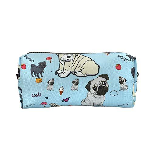 LParkin Cute Pug Dog Canvas Pencil Case Canvas Pen Bag Gadget Pouch Stationary Case Makeup Cosmetic Bag Box