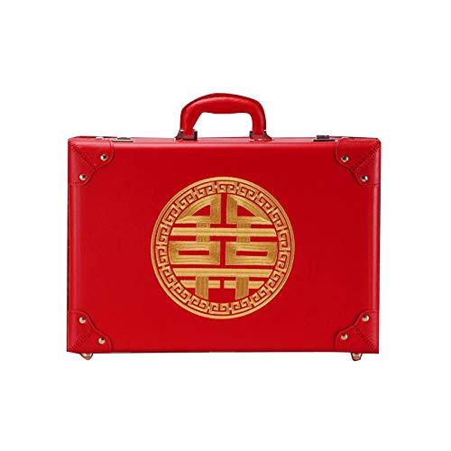 GGYMEI Vintage Koffer , Griffdesign Mit Großer Kapazität Geeignet for Kosmetik Und Schmuck Könnten, 4 Farben 5 Größen (Color : Red-b, Size : 53x20x38cm)