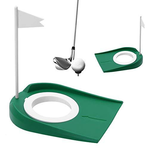 Golf Putting Cup Loch Praxishilfen mit Flagge Indoor-Outdoor-Büro Garage Yard Geschenk-Set - grün, Kunststoff, einstellbar