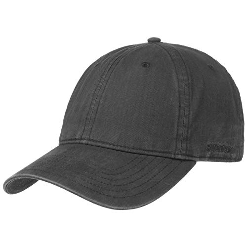 Stetson Ducor Sun Guard Fullcap Herren - Baseballcap aus Bio-Baumwolle (nachhaltig) - Frühjahr/Sommer - Cap mit Sonnenschutz UV 40+ - Basecap Stonewashed-Look - Outdoorcap schwarz L (58-59 cm)