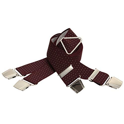 Alca bretels voor mannen, 3,5 cm breed, 120 of 130 cm lang, X-vorm met 4 extra brede, zeer sterke clips - verstelbaar - verschillende kleuren en ontwerpen