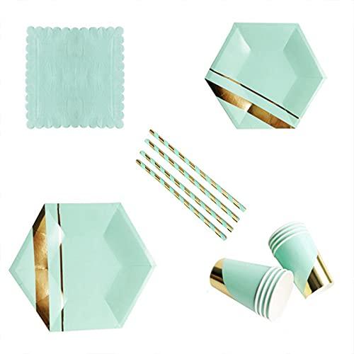 PPuujia Vajilla desechable de 69 piezas verde serie oro fiesta de cumpleaños decoración de boda papel fiesta suministros desechables placa de papel fiesta paquete decoratio (color 69 piezas)
