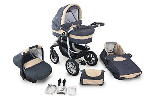 Clamaro 'CORAL' Kinderwagen 3in1 Kombi System mit Babywanne, Sport Buggy und 0+ (0-13 kg) Auto Babyschale, Luftreifen, Federung, Schwenkräder und EASY-STOP Bremse - 24. Leinen Anthrazit Creme