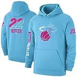 Jimmy Butler 22# Sudadera con Capucha, Miami Heat Basketball Jerseys Sudadera de Moda para Hombre, mayordomo de Manga Larga Juvenil Edición Swingman Hoodie (S-XXXL) Blue-L