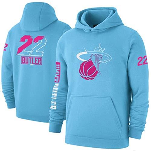 Sudadera con Capucha de Jimmy Butler, Miami Heat 22# Baloncesto Sudadera de Moda para Hombres Camisetas de Manga Larga Juvenil Swingman Hoodie (S-XXXL) Blue-M