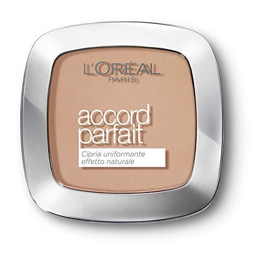 L Oréal Paris MakeUp Cipria Uniformante Accord Parfait, Cipria in Polvere Uniformante e Fissante, 3D Beige Dore, Confezione da 1