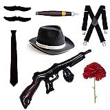 Bodysocks Gangster Costume Accessory Set - Trilby Hat, Tie, Braces, Cigar, Moustaches & Carnation (Black)