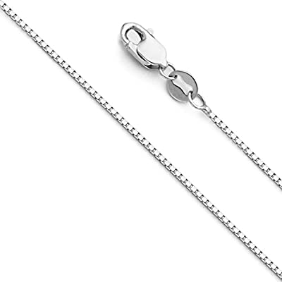 14k Yellow OR White OR Rose/Pink Gold Solid 0.9mm Box Link Chain Necklace with Lobster Claw Clasp