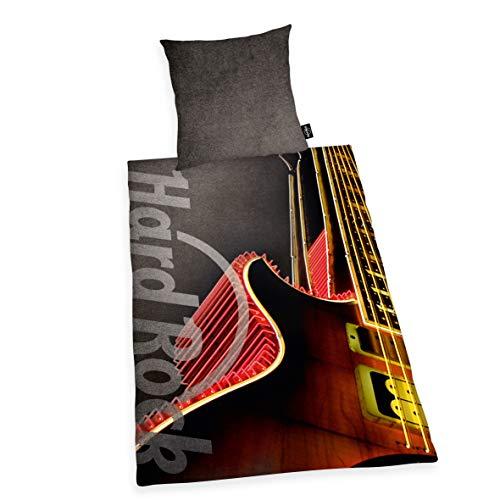 Herding HARD ROCK Bettwäsche-Set, Wendemotiv, Original Hard Rock Café Lizenz, Bettbezug 135 X 200 cm, Kopfkissenbezug 80 x 80 cm, Baumwolle/Renforcé, Grau