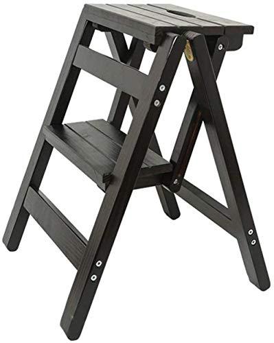 Taburete plegable innovador plegable para biblioteca, escalera de madera, taburete de cocina, oficina, con banco de 2 escalones