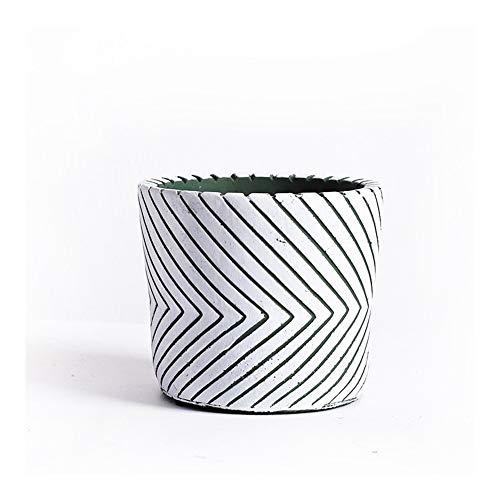 Semplici Strisce Vasi da Fiori di Cemento, Piante Carnose, Giardinaggio Coperta Pentole for Il Desktop (Color : White)