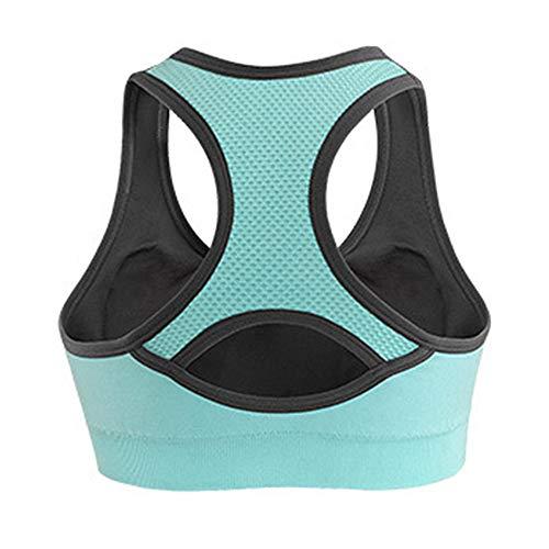 Honglion Women's Sport Yoga Bra Running Jogging Fitness Exercise High Impact Racerback Workout Bra Blue