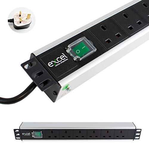 I-CHOOSE LIMITED Unidad De Distribución Energía PDU Montaje En Rack 2U y 6 Vías | Horizontal | Enchufes del Reino Unido | Reino Unido BS1363 Enchufe | Cable de 3 m
