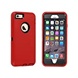 GreatCase Compatible with iPhone 6 Case iPhone 6s Case Built-in Screen Protector Shockproof Heavy Duty Durable 3 in 1 Cover Drop-Proof Scratch-Resistant Protective Hard Cases 4.7 inch Red&Black