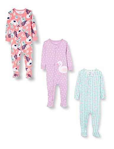 Simple Joys by Carter's pijama de poliéster suelto para bebés y niñas pequeñas, paquete de 3 ,Dino/Strawberry/Flamingo ,18 Meses