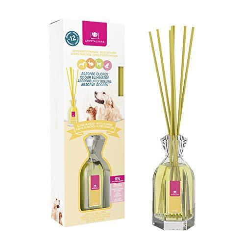 CRISTALINAS Ambientador Mikado Absorbe olores Mascotas. 0% Alcohol, 12 Semanas de duración. Aroma (Flores Blancas)