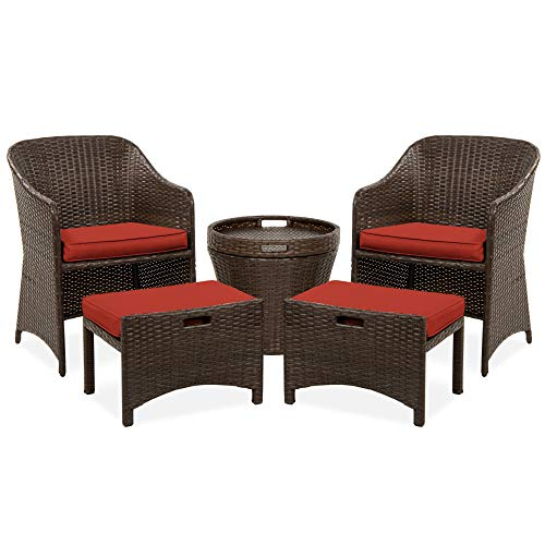 Best Choice Products 5-Piece Outdoor Wicker Bistro Set Multipurpose Furniture for Patio, Yard, and Garden w/ 2 Chairs, 2 Ottomans, and Side Storage Table, Space Saving Design, No Assembly - Red