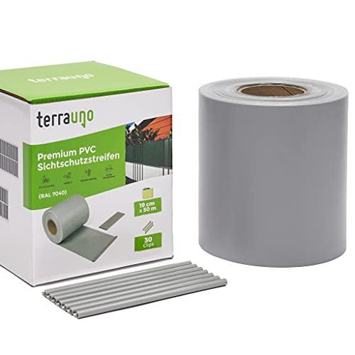 TerraUno - Premium Sichtschutzstreifen für Doppelstabmattenzaun - Gartenzaun I 50mx19cm inkl. 30 Clips I Grau I PVC Sichtschutz für den Zaun