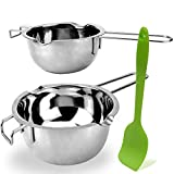 2 Pack Stainless Steel Double Boiler Melting Pot with Silicone Spatula for Butter for Chocolate Candy Butter Cheese Caramel Candle (480ML and 1000 ML)