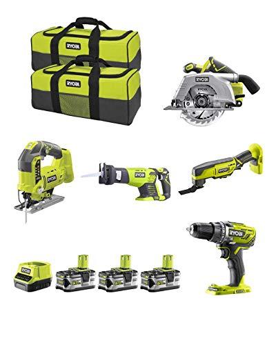 RYOBI Kit RK18535A (R18CS + R18JS + RRS1801M + R18MT3 + R18DD3 + 3 x 5,0 Ah + RC18120 + Werkzeugtasche)