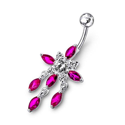 Red Crystal Stein Trendy Kronleuchter Blume Design Sterling Silber Bauch Bars Piercing
