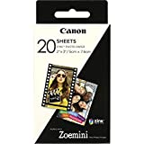 Canon Zoemini Zink - Hojas de Papel Fotográfico (20 Hojas, Compatible con Canon Zoemini), Blanco