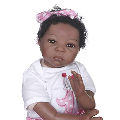 22 inch Reborn Baby Dolls Soft Vinyl Silicone with Cotton Body Reborn Toddler Silicone Baby Newborn Tan Skin Xmas Gift (White-Pink) -  RBB Dolls, 22NPK1809