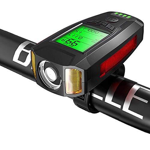 Luz para Bicicleta con Velocímetro Altavoz USB Recargable Impermeable 5 Modos De Iluminación para Todos Los Desplazamientos En Bicicleta Y Ciclismo De Carretera