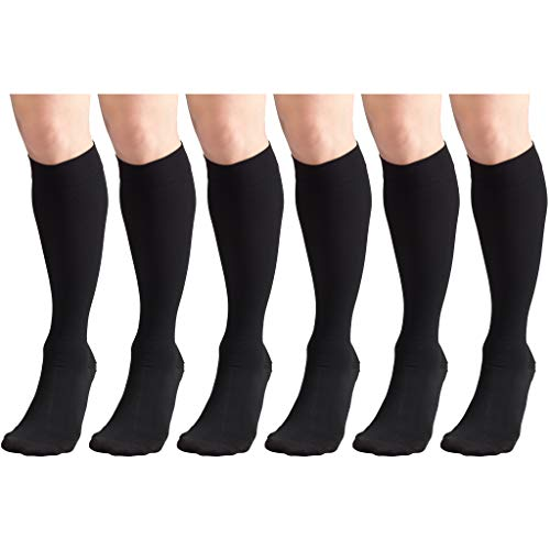 Short Length 20-30 mmHg Compression Stockings for Men and Women, Reduced Length, Closed Toe Black Large (6 Pairs)