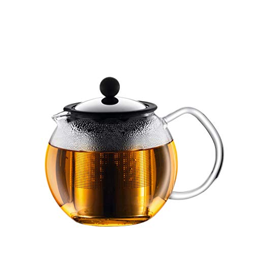 Bodum assam Teebereiter (French Press System, Permanent Edelstahlfilter, Glasgriff), 0,5 liters glänzend