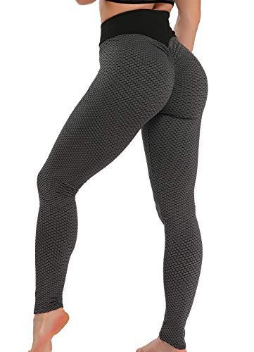 FITTOO Damen Scrunch Leggings Textur Bootybomb Elastisch Anti Cellulite Traininghose Raffung Po Lifting Yogahose Sexy Booty Push-Up mit Hohen Taille Kompressionshose #01 - Schwarz S