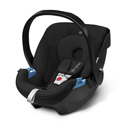 CYBEX Silver Babyschale Aton, Inkl. Neugeboreneneinlage, Ab Geburt bis ca. 18 Monate, Max. 13 kg, Pure Black
