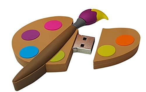 Pintor Palet Pintar y Cepillo 16 GB - Painter Palette - Memoria Almacenamiento de Datos – USB Flash Pen Drive Memory Stick - Diseño único y Original