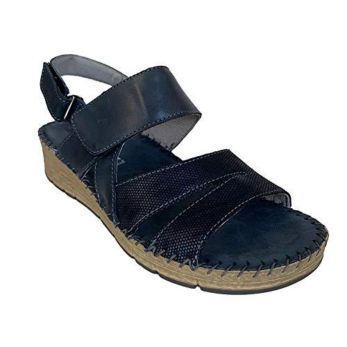 Grunland PALO SA2508 Blu Pelle Sandalo con Fascia A Strappo Comodo Zeppa Chiara CM.4 (Numeric_39)