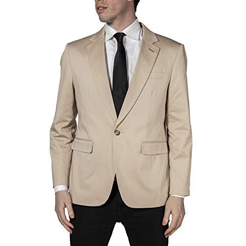 Perruzo Men's 1720 Regular Fit One Button Casual Blazer/Sport Coat - Khaki - 4XL