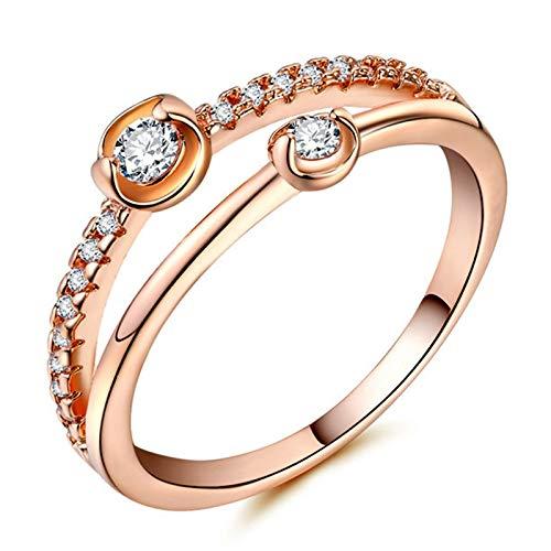 RQZQ Ring Trendy Originele Gemini Ster Vinger Merk Ring Rose Goud Binaire Ster Zirkoon Geweldige Receptie Verlovingsringen voor Vrouwen