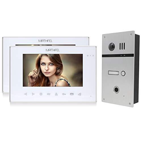 4 Draht Video Fingerprint Türsprechanlage Gegensprechanlage Fischaugenkamera 170 Grad, Farbe: Silber, Größe: 2x7'' Monitor in weiß