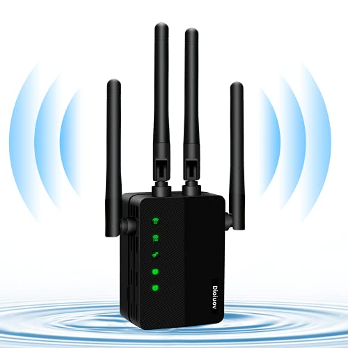 WiFi Extender 1200 Mbps-2.4 and 5GHz Dual-Band Network-Wireless Amplifier Signal Booster-Wireless Repeater with Smart Signal Indicator
