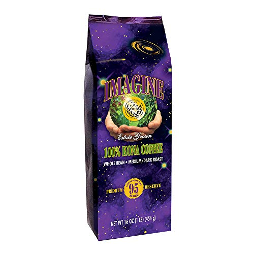 Kona Coffee Beans by Imagine - 100% Kona Hawaii - Medium Dark Roast (Whole Bean, 16 ounce)